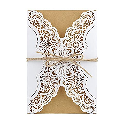 AerWo Hochzeits-Einladungs-Karten Grußkarten mit hohler Spitze Einladungsabdeckung, Geburtstags-Party-Babyparty laden Karten, FREIES zusammenpassendes