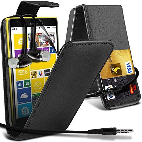 ( Black ) Nokia Lumia 1520 High Quality Faux Kredit / Debit-Karten-Slot Leder Flip Case Hülle & LCD-Display Schutzfolie & Aluminium In-Ear-Ohrhörer Stereo-Ohrhörer mit Hands Free Mic & On-Off-Taste Einbau by i-Tronixs -