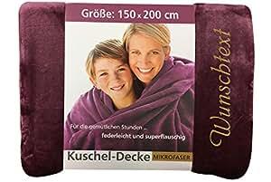 kuscheldecke mit namen nach wunsch bestickt 150 x 200 cm farbe beere stickfarbe name gold. Black Bedroom Furniture Sets. Home Design Ideas