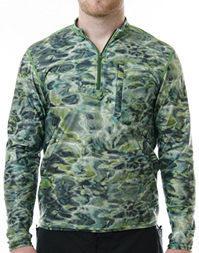 Aqua Design Herren 's Spear Fishing 1/4 Reißverschluss Hoher Kragen Lange Ärmel Rash Guard Shirt XXXX-Large Green Bayou -