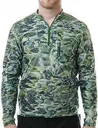 Aqua diseño de hombre Spear pesca 1/4cremallera cuello alto manga larga erupción guardia camisa