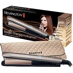 Remington Fer à Lisser, Lisseur Keratin Therapy Pro, Plaques Céramique Avancée, Chauffe Rapide, Lissage Professionnel, 5 Températures - S8590