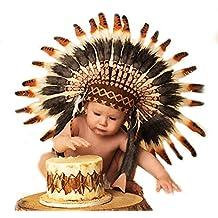 N04 - Para bebes de 9 a 18 : sombrero Indio, penacho, tocado, marron 3 colores para los más pequeños!