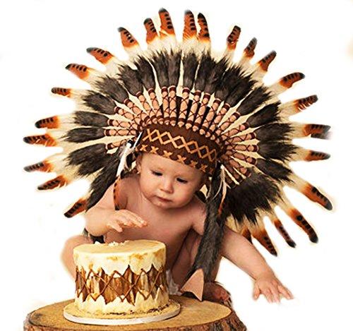 Nativen Hut Feder (N04- Für 9 bis 18 Monate Kleinkind / Baby: drei Farben Brown Native American Style Indian Headdress für die)