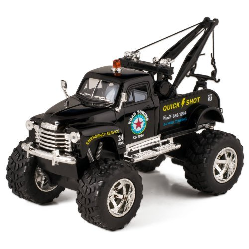 Black 1953 Chevy Off-Road Wrecker Die Cast Tow Truck Toy with Monster Wheels by Kinsmart - Tow Truck Diecast