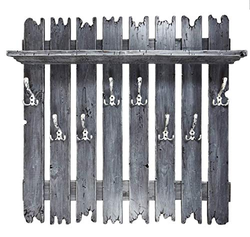 SHaBBy CHic ViNTaGe XXL Holz Garderobe mit 8x3 Metallhaken grau (HXBXT: 1oox1oox15 cm) aus Echtholz/Masivholz im used look rustikal Landhaus Stil (alternativ: Gaderobe, Gardrobe)