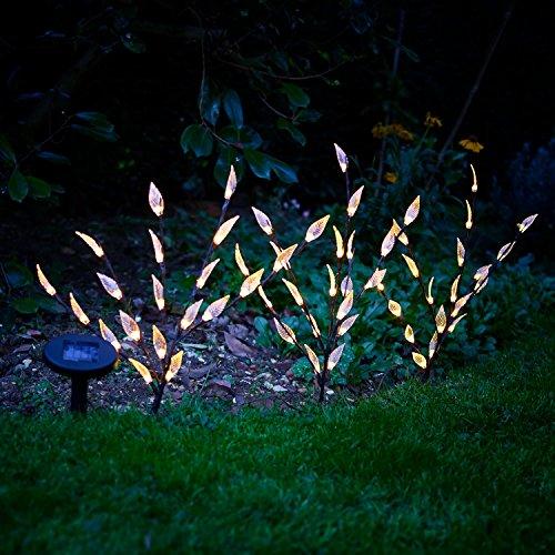 VINSANI Solarlampen 3Stück Set, Solar-Baum, Ast, Zweig, Blatt, Outdoor, Garten LED Lichter, Garten, Grenze, Schönes Nachtlicht, Deko Garten, Terrassenlampe, Sonnenkraft Eco