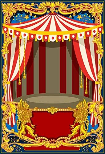 Cassisy 1,5x2,2m Vinyl Zirkus Fotohintergrund Rote weiße Streifen Zirkuszelte Goldener Bilderrahmen Drachen Fotoleinwand Hintergrund für Fotoshooting Fotostudio Requisiten Party Kinder Photo Booth