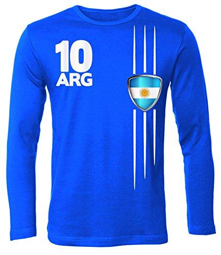 FOOTBALL WORLD CUP - EUROPEAN CHAMPIONSHIP - ARGENTINIEN SHIRT Uomo manica Lunga Maglietta Taglia S to XXL vari colori Blue