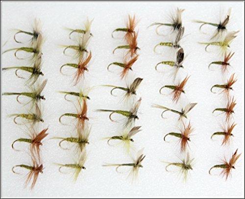 35truite de pêche Mouches sèches Olive & verts Ensemble 86sur 10, 12, 14crochets assortis