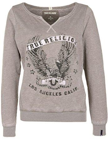 True Religion Damen Sweatshirt Crew Eagle Strasssteine (Pullover Frauen Eagles)