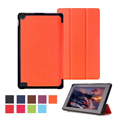 Fire 7 2012 Case Kindle Hd (Ultra Slim Fire7 2015 Hülle Case Tasche PU Leder Schutzhülle für Amazon Fire (7-Zoll-Tablet, 5. Generation - 2015 Modell) Smart Cover Case Etui Schale mit Standfunktion - Orange)