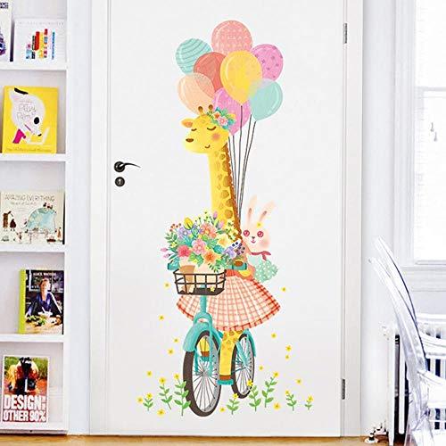 KLKL Kinderzimmer Große Giraffe Kaninchen Ballon Wandaufkleber Baby Mädchen Zimmer Schlafzimmer Dekoration Tier Blume Kinderzimmer 60X135 cm -