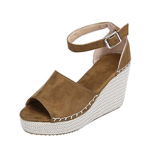 LUCKDE Damen Sandalette mit Keilabsatz Damenschuhe Sandalen Sandaletten Keilsandaletten Frauen Keil Tuch High Heel Plattform Peep Toe Schuhe Heel-plattform