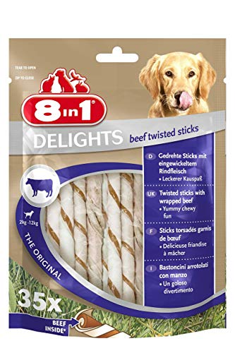 8in1 Delights Beef Twisted Sticks, gesunder Kausnack für sensible Hunde, 35 Stück (190 g) -