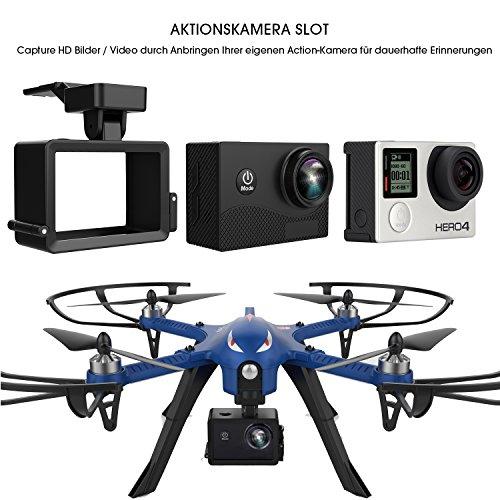 DROCON Bürstenlose Drohne Quadrocopter Bugs 3 (Action Kamera Halterung, Langer Steuerabstand)blau - 4