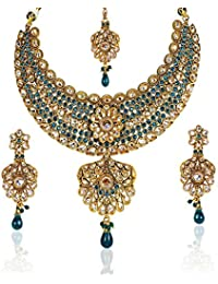 Dancing Girl Bridal Dulhan Wedding Turquoise Metal Alloy Jewellery Set With Necklace Earring And Maang Tikka For...