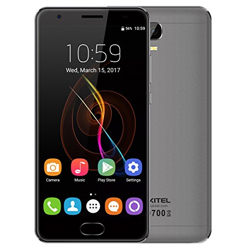 OUKITEL K6000 Plus Smartphone Ohne Vertrag- Android 7.0 6080mAh Akku 5,5 Zoll 4GB RAM 64GB ROM MTK6750T Octa Core 1.5GHz 8.0MP + 16.0MP Kamera Schnelles Laden Front Fingerabdruck GPS - Grau Big Button Bild Telefon