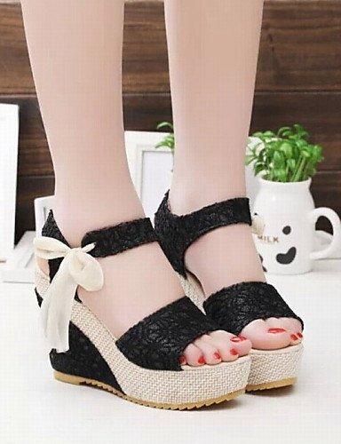 UWSZZ Die Sandalen elegante Comfort Schuhe Frau - Sandalen - Büro und Arbeit/formellen/Casual-Heels/Tick-Plateau - Pizzo/Stoff - Schwarz/Silber/Beige Black