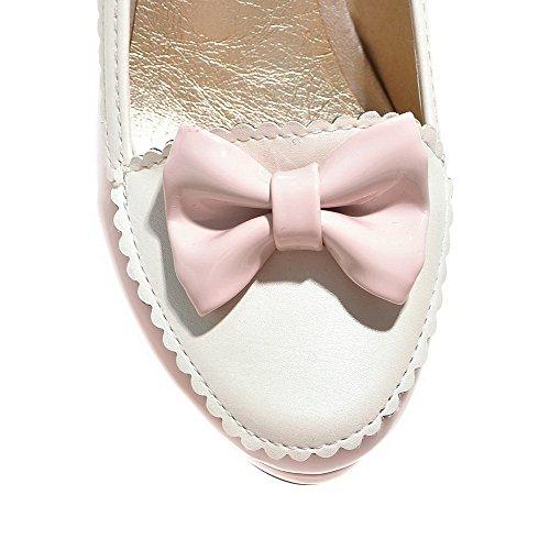 AllhqFashion Femme Couleurs Mélangées à Talon Haut Rond Tire Chaussures Légeres Rose