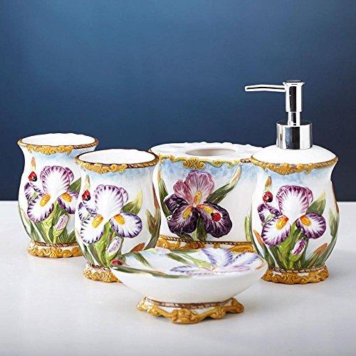 Lina @ bagno Suiten creativo giardino in stile europeo ceramica orchidea Phalaenopsis viola con cinque pezzi cover - Titolare Coccinella Spazzolino