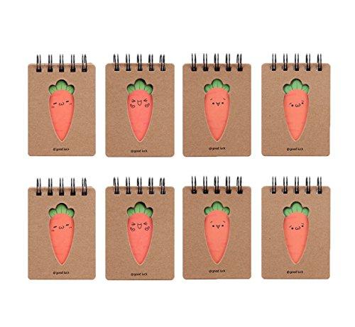 Shulaner Mini A7 Quaderno a spirale Simpatico quaderno per appunti con carota, 10,4 x 7,6 cm, Confezione da 8 Small Taccuino