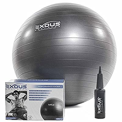 Exercise Fitness Yoga Core Stability Balance Swiss Ball 65cm Anti Burst With 60 min of Professional online Video workouts & 2-Way-pump 100% LIFETIME GUARANTEE from EXOUS