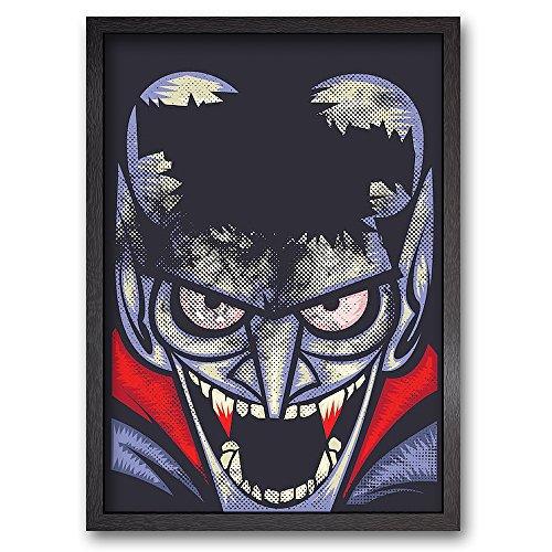 THE VAMPIRE - Limitierter Kunstdruck - fertig gerahmt - Holzrahmen schwarz - 64 x 89 A1 - Vampir Horror Comic (Halloween-oreos)