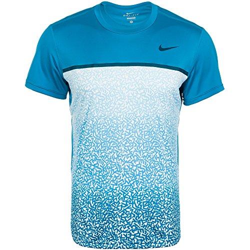 Nike Challenger Crew Printed Men's Tennis Shirt (Blue/Blue) - XXL - Crew-tennis Shirt