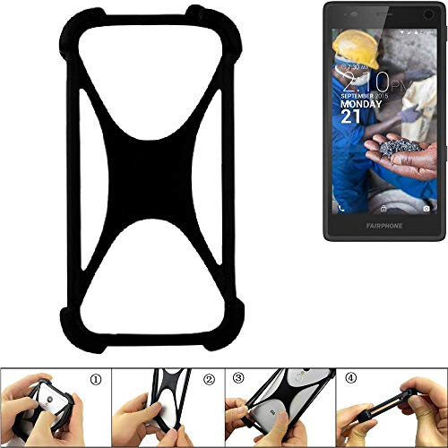 K-S-Trade Handyhülle für Fairphone Fairphone 2 Schutz Hülle Silikon Bumper Cover Case Silikoncase TPU Softcase Schutzhülle Smartphone Stoßschutz, schwarz (1x)