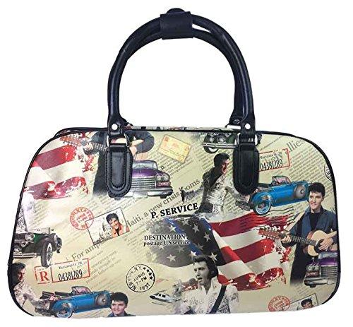 Big Handbag In volo Holiday Travel-Borsone per Weekend Borsa-Trolley bagaglio a mano Beige - Elvis Presley Print
