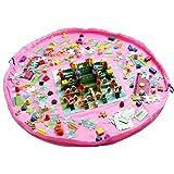 DegGod 150cm Kinder Schnell Aufräumsack Spieldecke Spielzeug Speicher Tasche Aufbewahrung Beutel Spielzeugaufbewahrung für Lego Baustein Spielzeug (Pink)