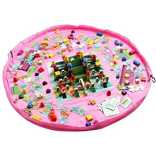 DegGod 150cm Kinder Schnell Aufräumsack Spieldecke Spielzeug Speicher Tasche Aufbewahrung Beutel Spielzeugaufbewahrung für Lego Baustein Spielzeug (Pink) (Matte Halter Spielen)