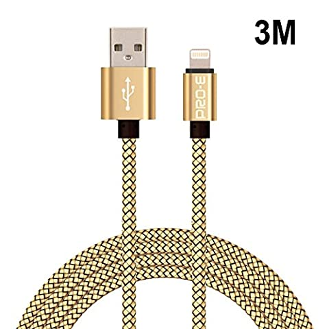 Câble iPhone, Pro-E 3m Nylon tressé Câble Lightning/Câble pour iPhone