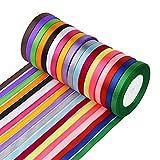 Aniyoo 450Yard 18 Farben Satinband (0,6 cm breit) Seidenbänder Geschenkband Schleifenband Hochzeit Dekoband Geschenk Verpackung