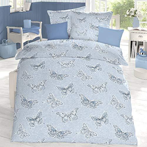 Schlafgut Edel Seersucker Bettwäsche Lynn Sommer-morgenblau 1 Bettbezug 155 x 220 cm + 1 Kissenbezug 80 x 80 cm -