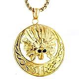 Epinki Titan Stahl Herren Halskette Rund Schädel Indisch Form Herrenkette Edelstahlanhänger Gold