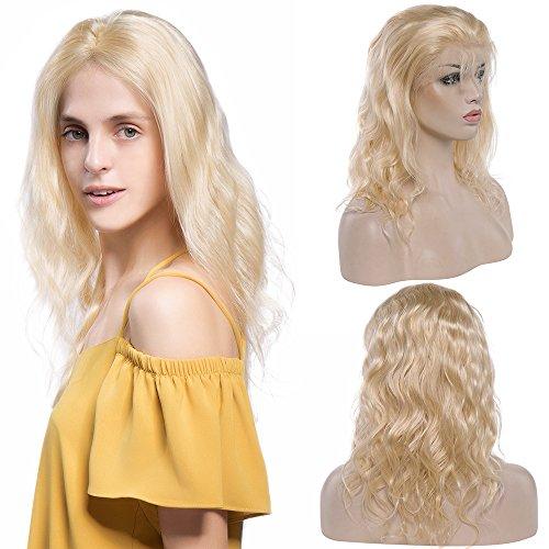 Perruque Naturelle Blonde Perruque Femme 100% Cheveux Humains Bresiliens Remy Ondulé - Lace Front Frontal Wig Naturel Human Hair (Densité: 130%, Longueur: 14\\