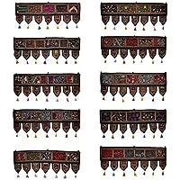 Lalhaveli - Cenefa de algodón para Colgar en la Puerta, Bordada, Estilo Indio, 99 x 40 cm (Juego de 10 Unidades)