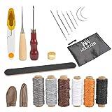 WOWOSS 21 Stück Leder Working Craft Werkzeuge, Hand Stitching Kit Nadeln, Bohren AHL Wachsfaden, Fingerhut, Fingerlinge, Groover Lederhandwerk für DIY Nähzubehör