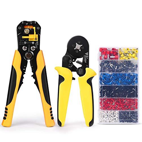 Amzdeal Pinza Crimpatrice Kit Pinza Crimpatrice 0.25 – 10 mm² e Wire Stripper/Spelafili Regolabile Multifunzione Professionista per Lavori di Cablaggio con 1200 Wire Crimp Terminale