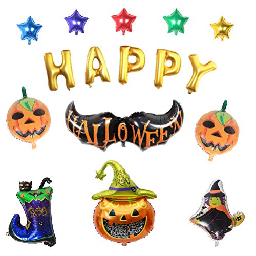 STOBOK Halloween Folienballons Kürbis Hexen Schläger Mylar Luftballons Halloween Dekoration für Home Party Bar Club