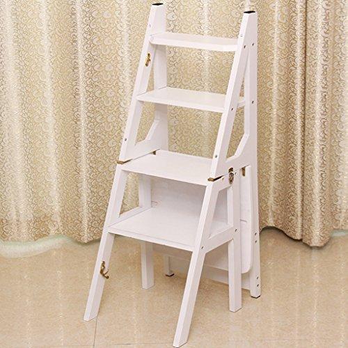 Schritt Hocker Stuhl (ZCJB Treppenhocker Bambus Haushalt Treppe Stuhl Fischgrät Leiter Falten Multifunktions Schritt Hocker Vier Schichten Klettern Hohe Leiter Stuhl Tritthocker ( Farbe : Weiß ))