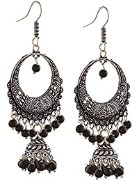 Afghani Tribal Oxidised Dangler Stylish Fancy Party Wear Chandbali Earrings For Girls And Women By  Multiline...