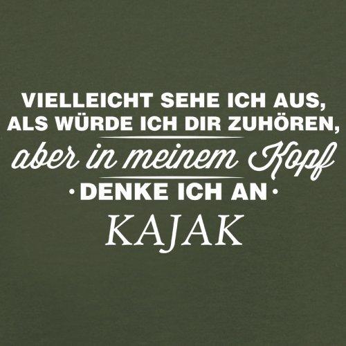 Vielleicht sehe ich aus als würde ich dir zuhören aber in meinem Kopf denke ich an Kajak - Herren T-Shirt - 13 Farben Olivgrün