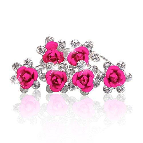 Haarnadeln Blume Rose Strass Blüte Kristalle Hochzeit Braut Haarschmuck Blumenhaarnadel Kommunion Haarpins Duttnadeln pink 12er Set