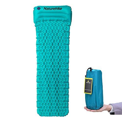 Camping Isomatte Kleines Packmaß von HikentureTM - Ultraleichte Aufblasbare Isomatte mit Kissen - Sleeping Pad Luftmatratze für Camping, Reise, Outdoor, Wandern, Strand (Blau)