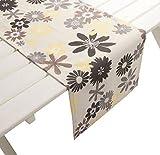 Tischläufer Capri Blüten - Outdoor grau gelb ca 42 x 145 cm Blumen