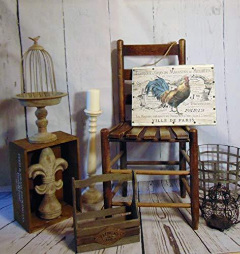 istiWood Französisches Rustikales Hahnschild Französischer Landhahn Französisches Landhausschild Hahn Schild Bauernhaus Schild -