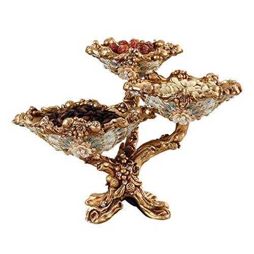 Or haute qualité européenne assiette de fruits ensemble créatif salon table basse décoration mode haut-pied multi-couche assiette de fruits séchés décorations pour la maison